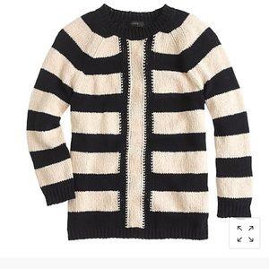 Jcrew mixed striped linen blend navy blue sweater